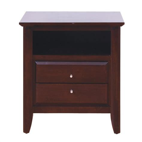 nightstand with charging station black oak finish modus city ii 2 drawer nightstand in coco 1x5081