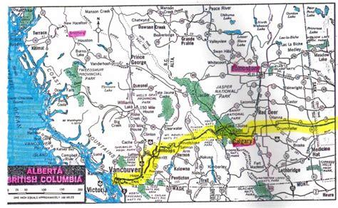Road Map Of Bc Interior map of alberta and bc