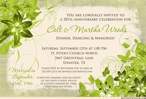 30th Wedding Anniversary Invitation Wording 30th Anniversary Invitations Templates