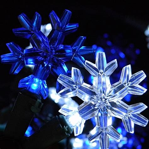 white blue led snowflake string lights battery operated