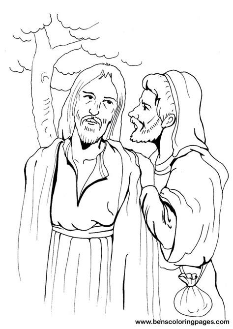 coloring pages of judas betrays jesus kiss of judas coloring pages