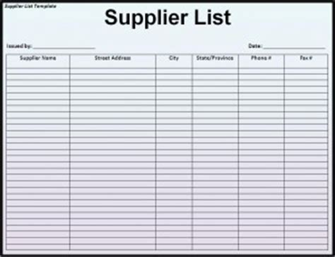 approved contractors list template top 5 free supplier list templates word templates excel