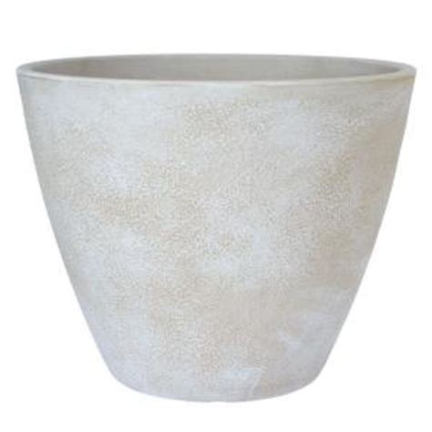White Planters Home Depot by Planters 20 In Dia Antique White Resin Acorn Planter Ap20deaw The Home Depot