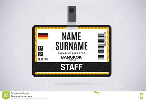 staff id card plastic badge vector design illustration
