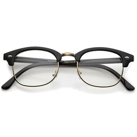sunglassla retro horn rimmed metal nose bridge clear lens
