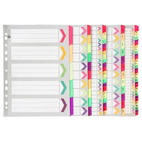 divider tabs template marbig dividers indices marbig 174 fluoro tab dividers