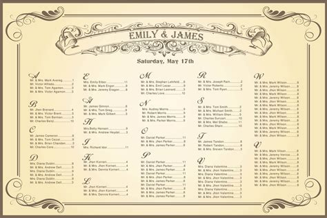 Wedding Seating Chart Vintage For Your Reception Wedding Table Chart Template