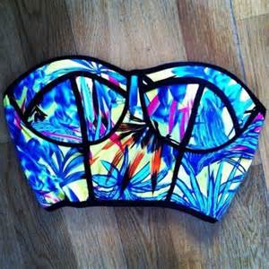 colorful bikinis swimwear neon bright crop tops blue floral