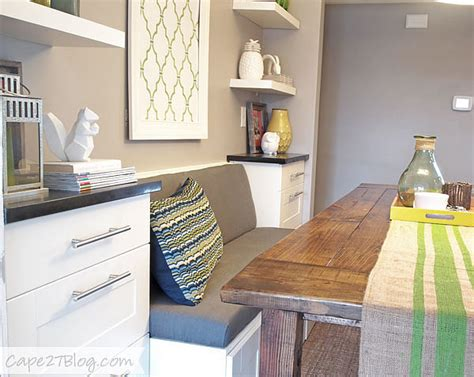 how to build a banquette out of cabinets diy banquette popsugar home
