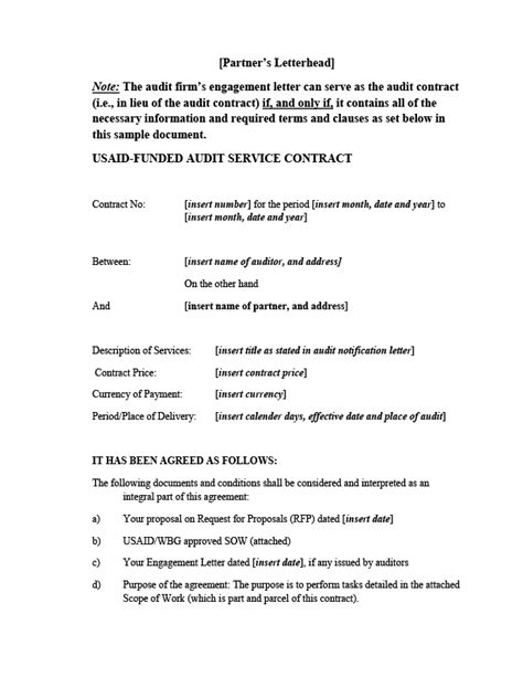 usaid business plan format attachment 8 f sle audit contract u s agency for