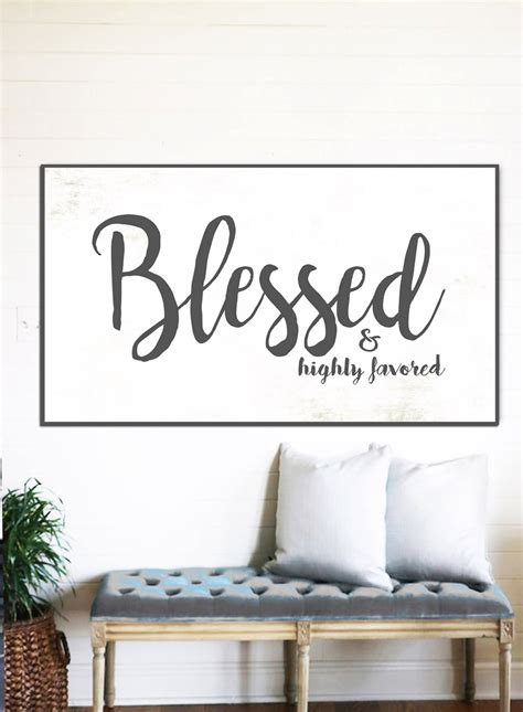 scripture wall art home decor blessed sign rustic sign gift for her home decor farmhouse