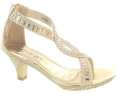 wedge high heel wedding childrens diamante