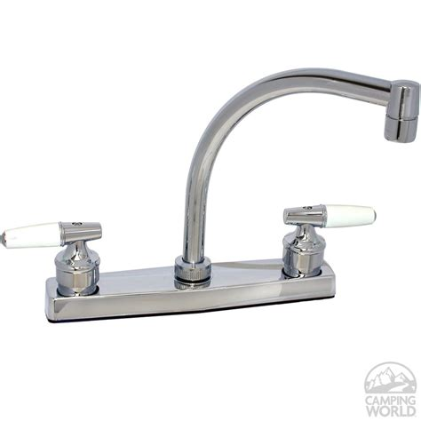 Kitchen Faucets White Finish by Chrome Finish Hi Arc Kitchen Faucet With Tea Cup Handles