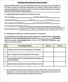 employee exit form template sle employee clearance form 8 exles in word pdf