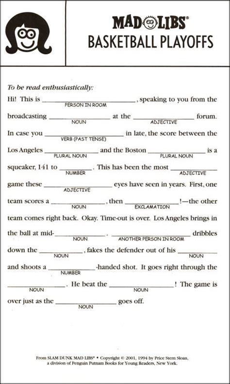 mad lib template free printable mad libs for search mad