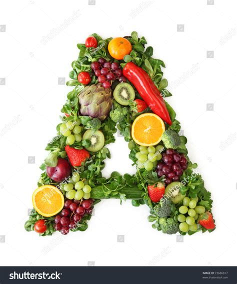 vitamin h vegetables fruits fruit vegetable alphabet letter stock photo 73686817