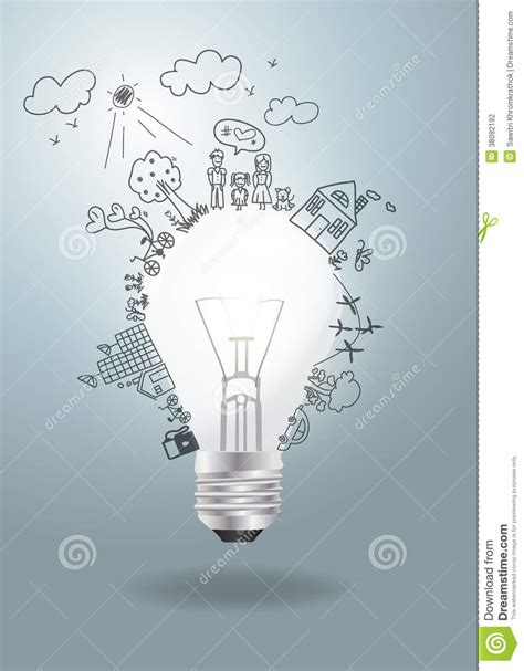 Happy Light Bulb Vector Light Bulb Idea With Creative Drawing Ecolo Stock