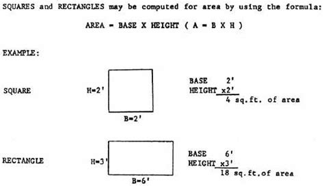 what is the formula for cross sectional area figure 4 9 area of a square and rectangle
