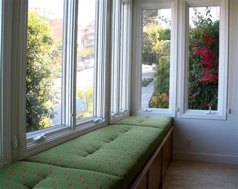 window seat fabric princely open views sunroom ideas with green fabric cover