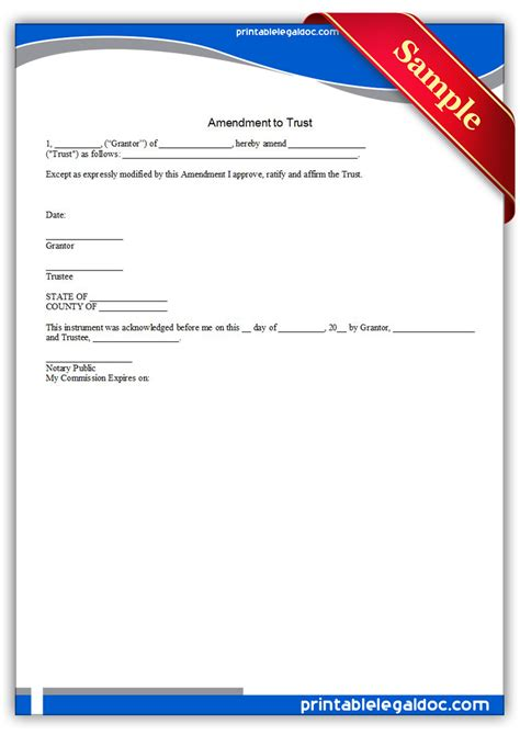 Free Printable Amendment To Trust Form Generic Asset Protection Trust Template