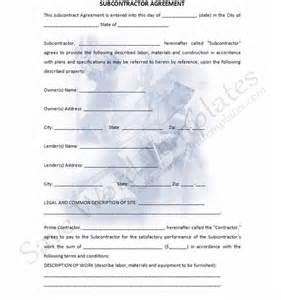 subcontracting contract template non compete agreement subcontractor agreement template