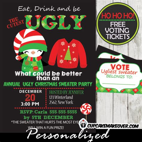 free printable ugly sweater voting ballots ugly christmas sweater party invitations voting ballots