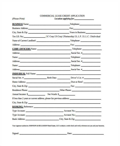 Credit Application Form Lease 21 Free Lease Application Form Free Documents In Word Pdf