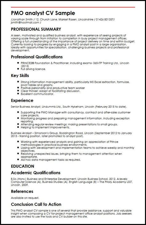 Network Analyst Resume Exle by Pmo Analyst Cv Sle Myperfectcv