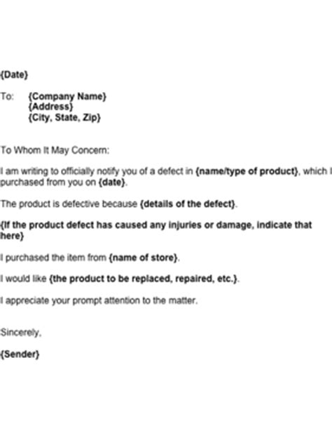 Apology Letter Product Defect Notice Of Product Defect Template