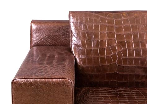 crocodile leather couch brown alligator leather sofa