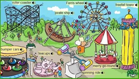 themes en english fairground attraction vocabulary english for kids
