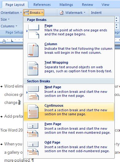 merge sections in word how to insert column break in excel 2007 troubleshoot