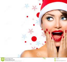 christmas woman stock image image of emotions mouth