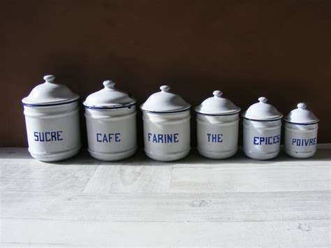 complete set of six french aluminum kitchen canisters from french vintage set of 6 enameled metal kitchen canisters