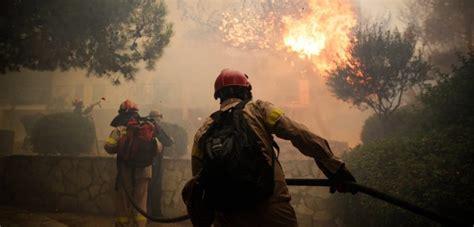 multiple fire fronts  greece wreak havoc
