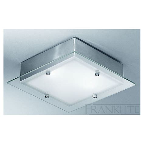 cf1250 square flush ceiling 2 light satin nickel and glass