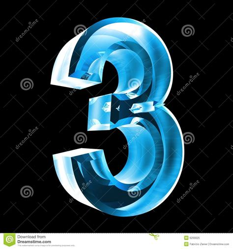 3d Number 3 In Blue Glass Royalty Free Stock Photo Image 3d Image For The 3