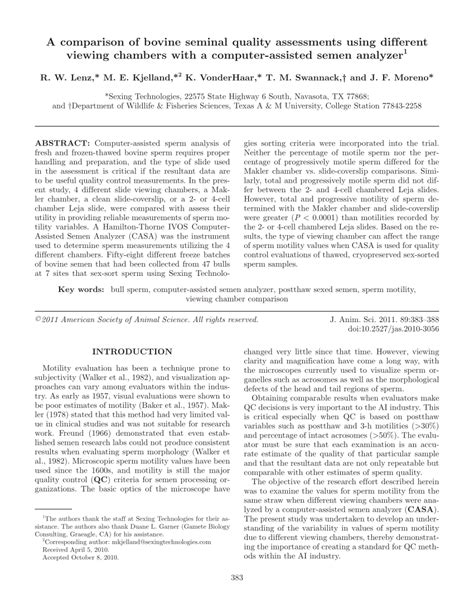 Research Paper On Computer Aided Quality by A Comparison Of Bovine Seminal Quality Assessments Using Different Viewing Chambers With A