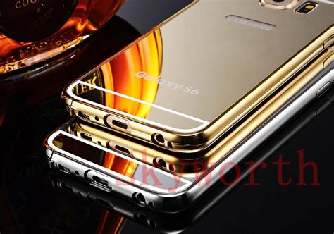 Metal Bumper Miror For Galaxy S6 Edge Pluss gold plated mirror aluminum metal hybrid bumper back