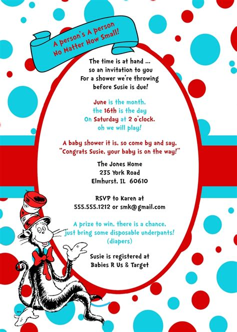 Cat In The Hat Baby Shower Invitations Theruntime Com Thing 1 Editable Template