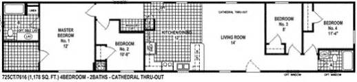 single wide mobile home floor plan view 725ct