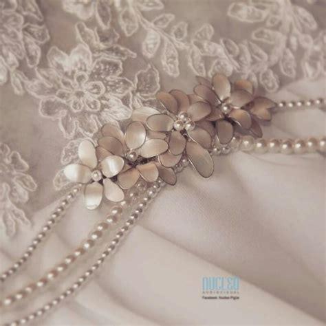 apliques para tocados cinturon de perlas con aplique de flores nacaradas novias
