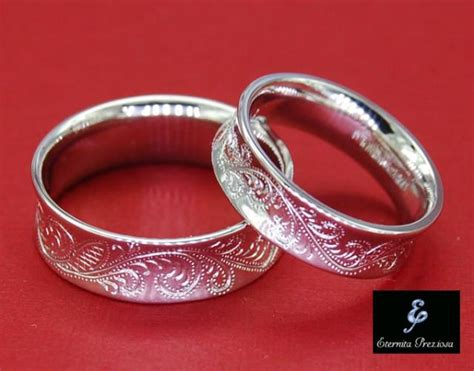 flower ornate engraved wedding band set antique
