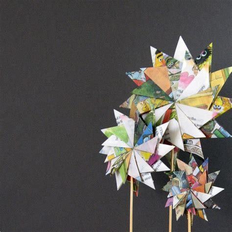 Recycled Origami Paper - paper garden origami sculpture geometric pastel by bookbw