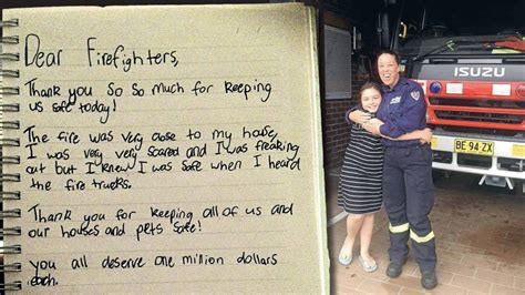 Thank You Letter For Firefighter Kurri Delivers Warming Thank You Note To Firefighters Photos The Advertiser