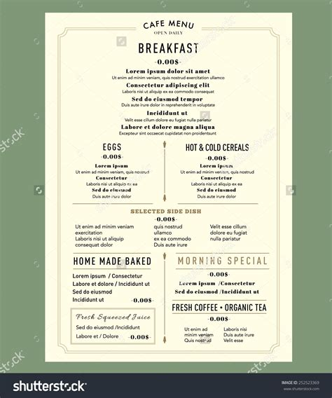 menu with pictures template menu design for breakfast restaurant cafe graphic design