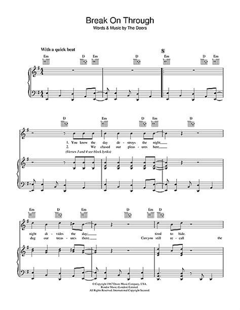 The Doors On Through Lyrics by On Through Sheet By The Doors Piano Vocal