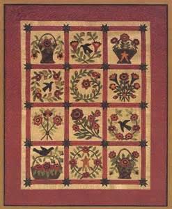 primitive folk wool applique quilt pattern by