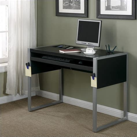 Black And Silver Computer Desk by Office Elara W Reversible Silver Black Top Computer Desk Ebay