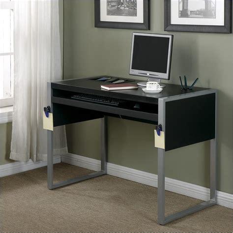 Black And Silver Computer Desk Office Elara W Reversible Silver Black Top Computer Desk Ebay